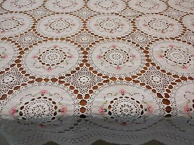 Vintage Lace Tablecloth White Cotton Crochet Joins Embroidered Doilies 172x130cm