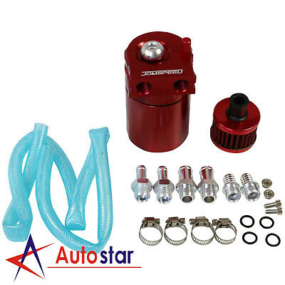 Red Oil Catch Can Tank Reservoir Breather Aluminum Cylinder Engine w/ Filter Kit