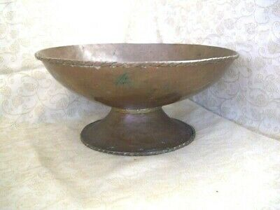 Heavy Copper Pedestal / Tazza Bowl / Dish - Hand Made Arts & Crafts