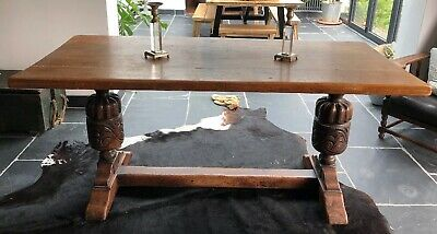 Antique Carved English Oak Refectory Table