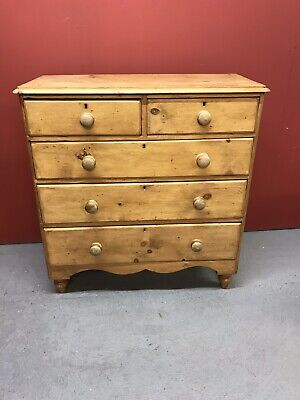 Antique Victorian Pine Chest Of Drawers Sn-897a