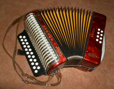 Akkordeon Hohner ERICA, perlmutt-rot, Ton : C / F,  MADE IN GERMANY, Harmonika