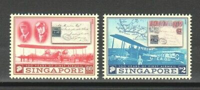 Singapore 2019 100 Years Of First Airmail Comp. Set Of 2 Stamps Mint Mnh Unused