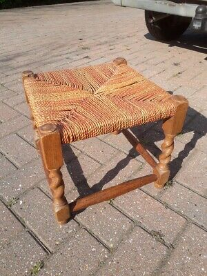 SALE Vintage Woven String FOOT STOOL 13in 11in H Wooden Footstool Use or Upcyle