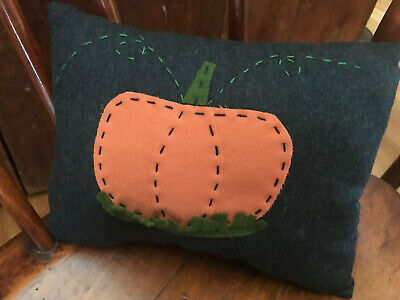 Primitive Country Pumpkin Halloween Handstitched Wool Pillow Fall Harvest Decor
