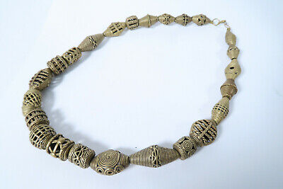 Strang Messingperlen Gelbguß AM83 Ghana Brass Beads Ashanti Akan Afrozip