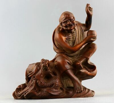 AAA Collect China Old Boxwood Hand-Carved Dragon & Arhats Buddha Exorcism Statue