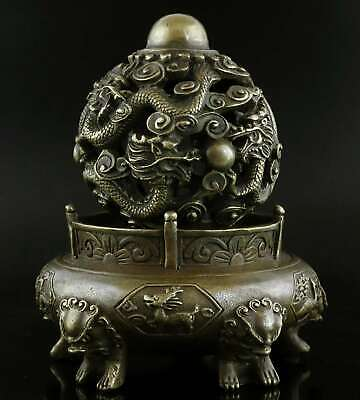 Qianlong Years Old Bronze Hand-Carved Dragon Chase Sun Exorcism Decorate Statue