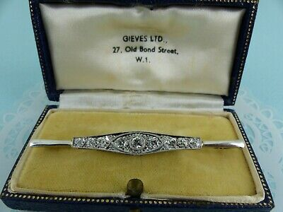 Stunning Antique Art Deco 18ct Gold & Platinum Diamond Brooch 0.90ct Boxed