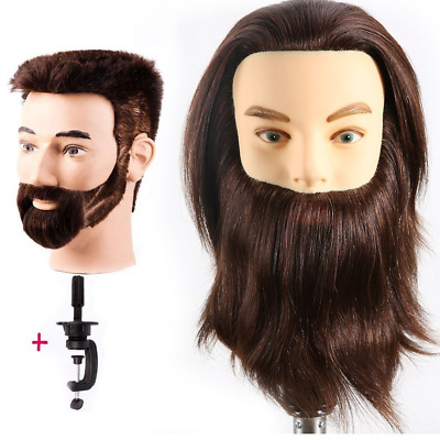 HAIREALM Man Mannequin Head 100% Real Human Hair With Beard Cosmetology Training