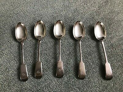 5x ANTIQUE VICTORIAN ELKINGTON SPOONS SILVER PLATED MONOGRAMMED Graded A 1849-50