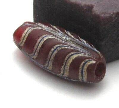 Rare Amazing Large Translucent Cranberry Oval Venetian Feather Antique Bead ~