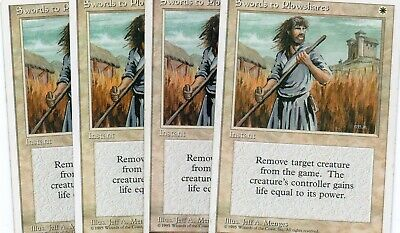 English Magic Mtg M:tG 4th Edition Swords to Plowshares x1 Moderate Play