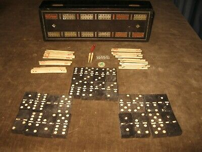 Antique Wood Inlaid Box Gaming Box Domino Cribbage Board Ebony Mop Restoration