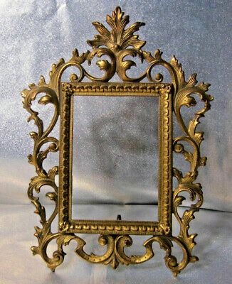 Antique Cast Metal Gold Rococo French Victorian Standing Picture Mirror Frame