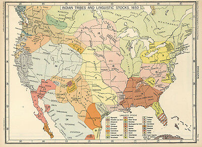 US Map Indian Tribes & Linguistic Stocks Native American 1650 Historical Poster