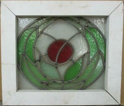 "OLD ENGLISH LEADED STAINED GLASS WINDOW Circular Floral Design 15.5"" x 13.5"""