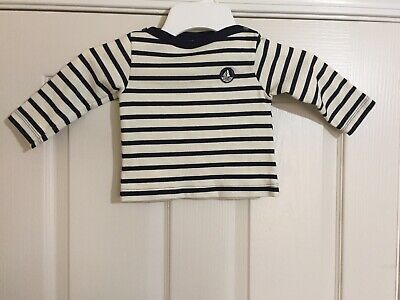 NWOT Petit Bateau Navy Striped Long Sleeve Shirt 12 M
