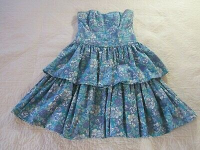 Laura Ashley Womens Dress Size 10 Blue Floral Tiered Ruffles Vintage 80's