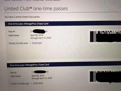 Two (2) Chase United Airlines Club Lounge One Time Passes -- Exp 04/15/2020