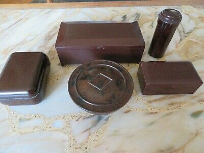 Five collectable vintage bakelite containers - includes Gillette shaving box