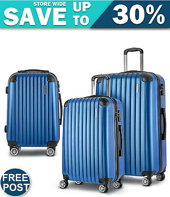 Wanderlite 3pc Luggage Sets Suitcases Set Travel Hard Case Lightweight Blue