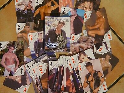 Jeff Stryker Playing cards Vol1 (Blu) & Vol2 (Red) artistic N udes signed / Jeff