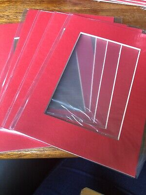 """Red Picture Photo Frame Mounts Bevel Cut Mount pk 5 5x7"""" 3.45x4.75"""" Aperture"""