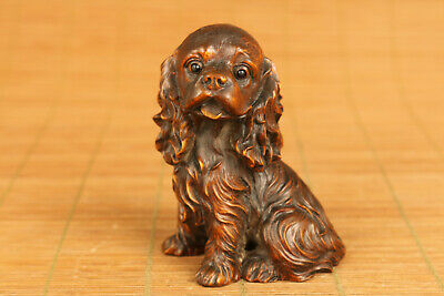chinese old boxwood hand carved dog statue netsuke collectable