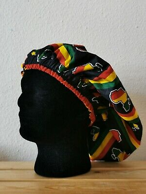 Limited Handmade Red, Gold and Green Map of Africa Lined Sleep/Lounge Caps