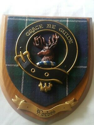 Vintage Old Scottish Carved Oak Clan FORBES Tartan Plaque Crest Shield