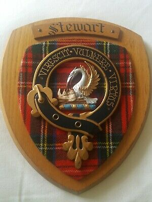 Vintage Old Scottish Carved Oak Clan STEWART Tartan Plaque Crest Shield