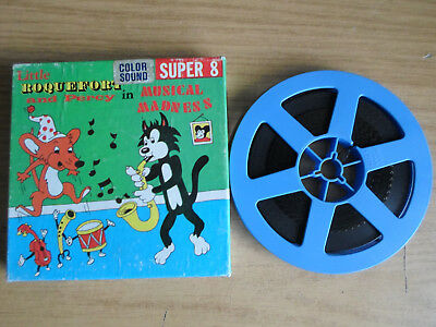 Super 8mm sound 1X200 MUSICAL MADNESS. Little Roquefort & Percy cartoon.