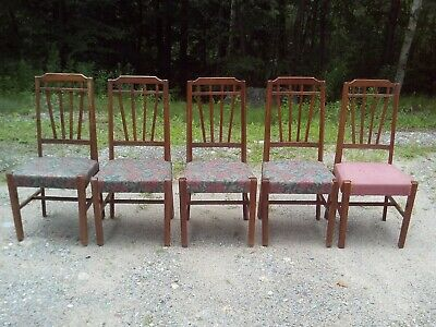Antique Vintage  5 Hardwood Dining Chairs