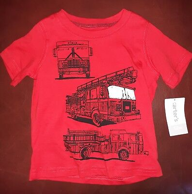 Infant Baby Boy Carter's Fire Truck Graphic Tee 12M Short Sleeve Tshirt NEW Top