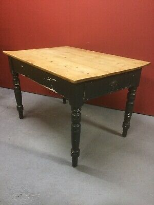 Antique Victorian Pine Plank Top Kitchen Table Sn-826a