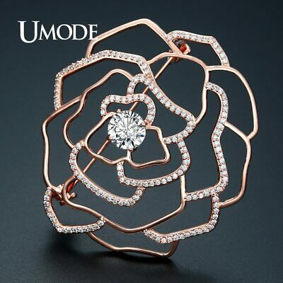 UMODE Vintage Hollow Flower Large Brooches for Women Rose Gold Color Charm