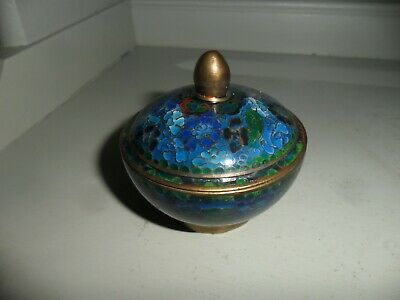 Small Antique/Vintage Blue Chinese Cloisonne Enamel Lidded Bowl Good condition