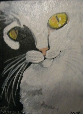 """A600      Original Acrylic Aceo Painting By Ljh  """"Wendall""""  White Cat Kitty"""