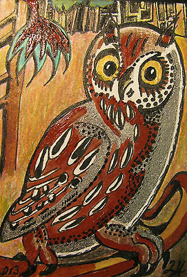 """A220        Original Acrylic Aceo Painting By Ljh  """"Owl On Limb"""""""