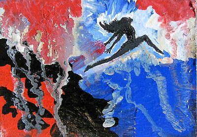 "A462   Original Mixed Media Art Aceo Painting By Ljh  ""Abstract Dance"""