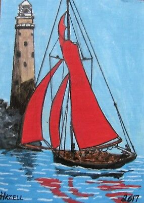 """A586    Original Acrylic Art Aceo Painting By Ljh """"Lighthouse''"""