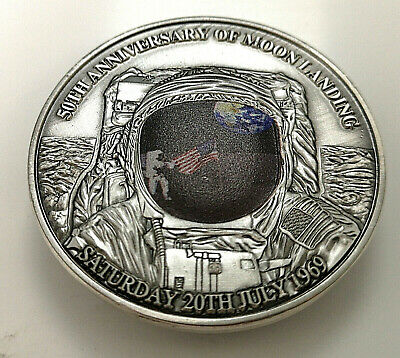 3D Dome Moon Surface Silver Coin First Man on the Moon Landing Apollo U C Flag