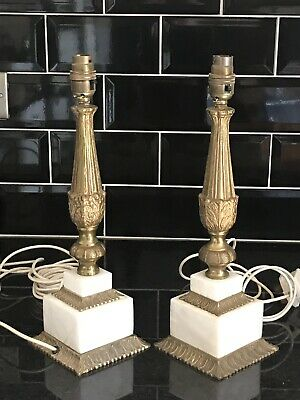 PAIR OF MATCHING BRASS AND ONYX TABLE LAMPS - 15 inches tall