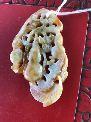 Antique Chinese Carved  Russet Jade Carving Of Double Gourd Pendant