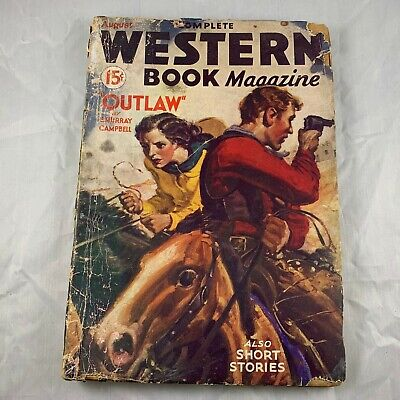 Complete Western Book Magazine August 1934 Worn / Poor - Novel Outlaw Rare Vtg