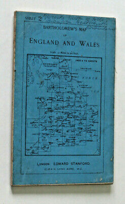 Northumberland South Bartholomew Half inch Map sheet 2 sectioned Stanford covers