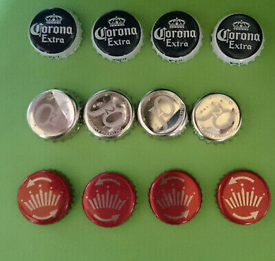 12 Bottle Tops Beer Budweiser Twist Red J2O Gold Corona Crown Caps Man Cave Bar
