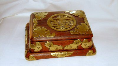 Antique ROSEWOOD 3-pieces JEWELRY BOX with BRASS Ornaments LOVELY :)