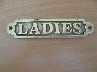 Vintage brass Ladies toilet  plaque sign, pub bar office